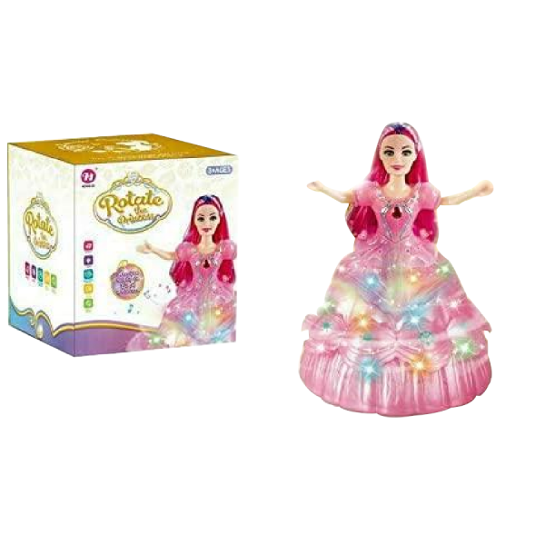 Bump & Go Action Rotating Princess Doll With Light & Music Toy For Girls