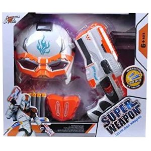 Soft Bullet Blaster Gun With Cool Mask Kids Super Weapon Outdoor Toy