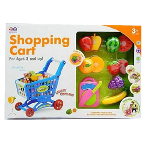 Kids Shopping Trolley Cart Role Play Plastic Fruit Food Fun Toy Gift