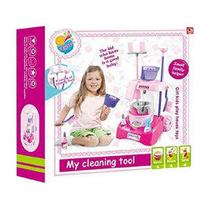 Kids Cleaning Trolley Cart Mop & Brush Role Play Toy Set Cleaning Tools For Girl