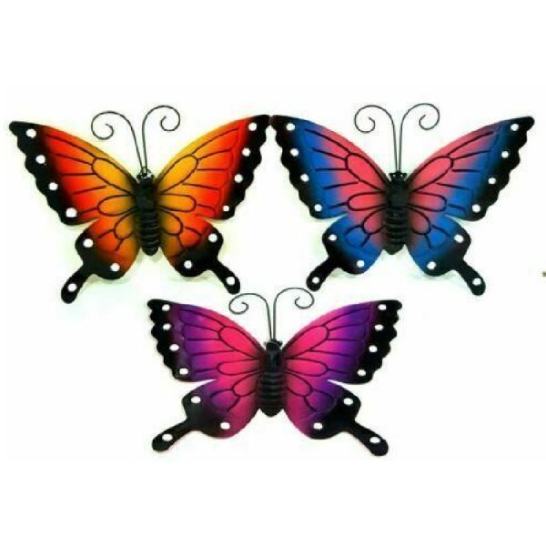 DPNY 3 x Garden Wall Decoration Metal Butterfly With Hook Wall Art Size Small (25x30cm)