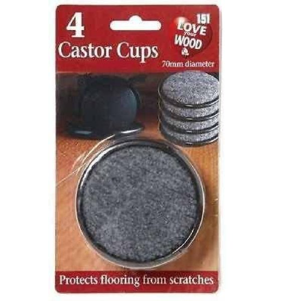 4 x LARGE BLACK PADDED CASTOR CUPS FLOOR CHAIR FURNITURE PROTECTOR