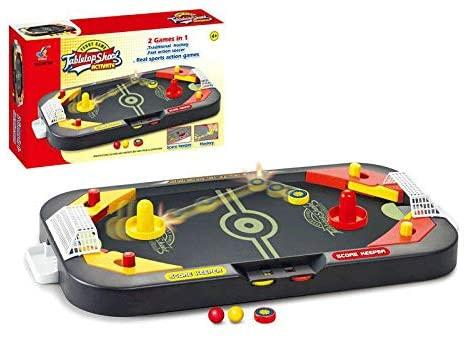 2 In 1 Tabletop Shoot Activate Traditional Hockey & Soccer Real Sports Game For Kids