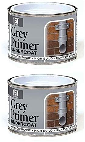 2 x Grey Primer Undercoat Paint most surfaces including metal Quick Dry Under Coat Paint Base Tin 180ml