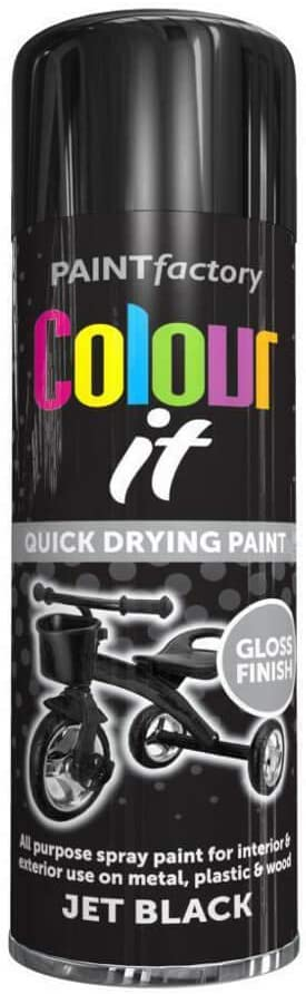 250 ml all purpose spray paint black gloss paint spray can ideal for interior & exterior
