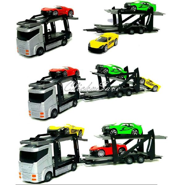 SDMAX Kids Toy Truck Lorry Transporter Trailer Ramps With 3 Die Cast Cars Play Set TEAMSTERZ