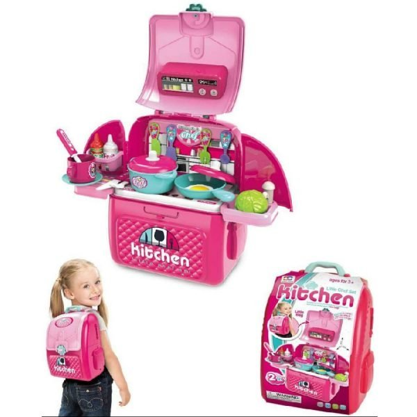 2 in 1 Backpack Kids Play Kitchen Toy Educational Pretend Play Girls Toy Set