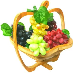Collapsible Wood Foldable Fruit Apple Shape Folding Basket With 4 Grapes Strings