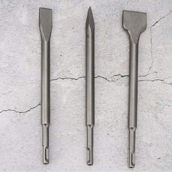 SDS Drill Chisel Set Set of 3 Hex Shank High Quality Spade, Flat & Point Chisel for Universally Using