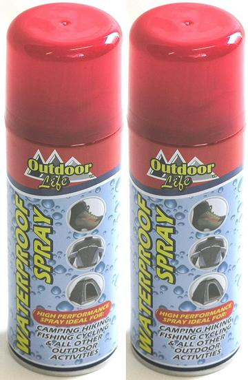 2 x 200ml Waterproof Spray For Most Outdoor Items. Camping Clothing Fishing Maps
