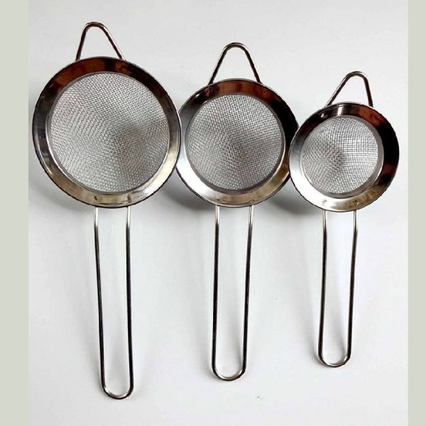 DPNY 3 X STAINLESS STEEL TRADITIONAL TEA STRAINER KITCHEN WIRE MESH FILTER SIEVE SETS
