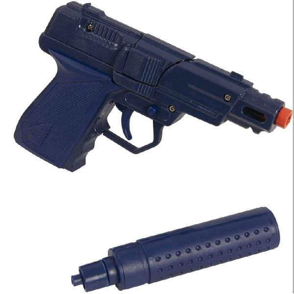 HTI Toys Swat Mission Die-cast Metal Cap Gun Pistol With Silencer   Great Fun For Adults Kids Boys & Girls Role Playing Toy Guns - 2 Assorted Colours (Blue / Red)