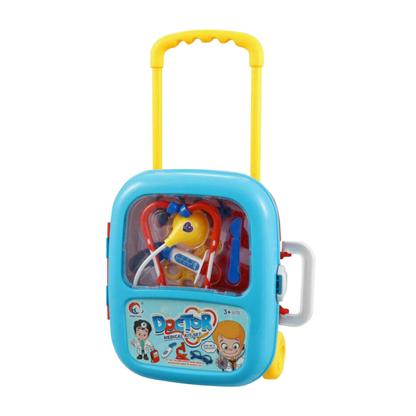 Kids Pretend Play Doctor Nurse Medical Kit In Briefcase Trolly Play Set Toy blue
