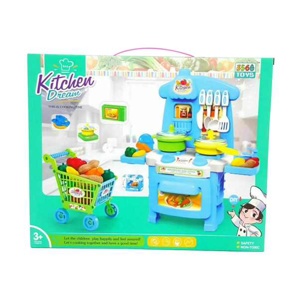 Play Dream Kitchen Kids Pretend Gas Stove With Shopping Cart Toy Playset Blue