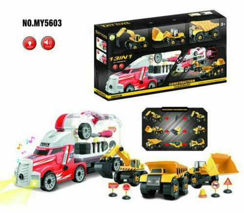 13 In 1 Construction Vehicles Diy Tool Carrying Lorry Truck Kids Toy Play Set