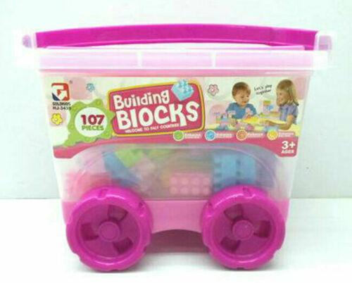 107pcs Colored Building Brick Block Container Set With Pull Along Cart Kids Toy
