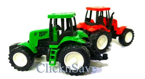 2 x Real Look Mini Farmer Car Tractor Toy Pull Back And Go Action 15 x 8cm