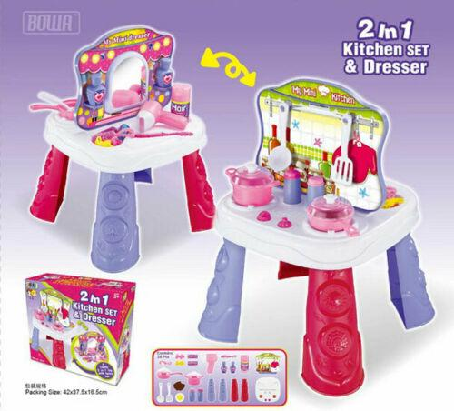 2 In 1 Pretend Play Kitchen Set And Dresser Play House Toys Set For Kids