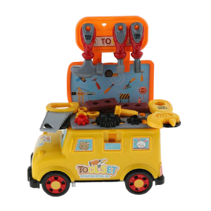 Kids Boys Role Play Portable Tool Car Pushed Around Mini Bus Toy Play Set