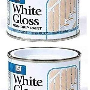 151 Coatings Pack Of 2 White High Gloss Non-Drip Paint 180ml Tin For Interior Exterior Wood Metal Concrete