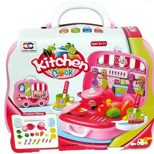 DPNY 26pcs Kids Little Chef Portable Kitchen Accessories Set With Rolling Wheel Bus